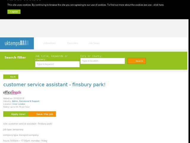 customer service assistant - finsbury park!