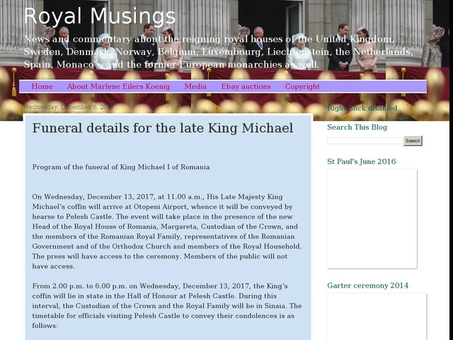 Funeral details for the late King Michael