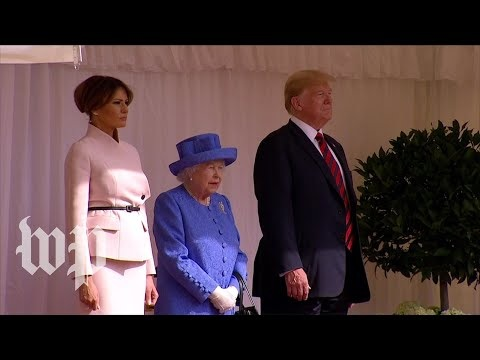 Donald Trump walked in front of the Queen when they met at Windsor Castle