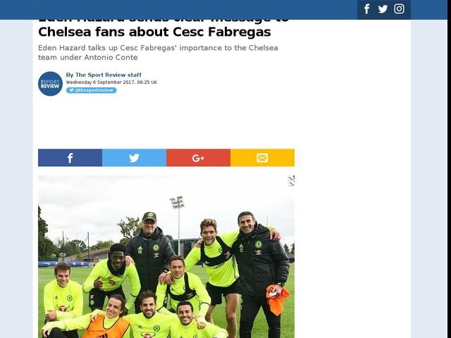 Eden Hazard sends clear message to Chelsea fans about Cesc Fabregas