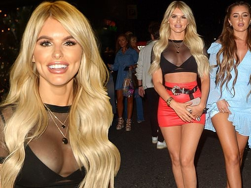 Hayley Hughes commands attention in a sheer top as she joins Georgia Steel at the Love Island party