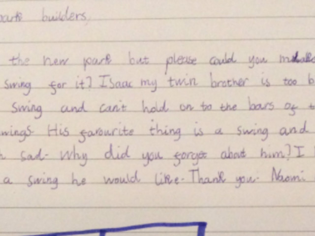 Eight-Year-Old Writes Letter To Council Asking Why There Are No Swings For Her Disabled Brother