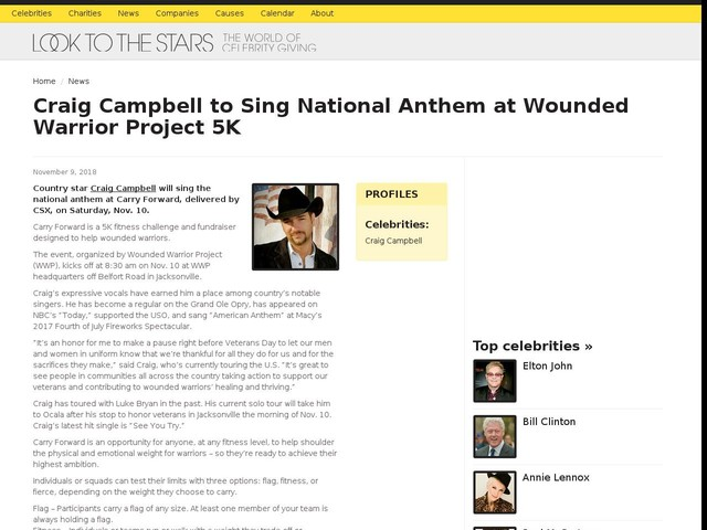 Craig Campbell to Sing National Anthem at Wounded Warrior Project 5K