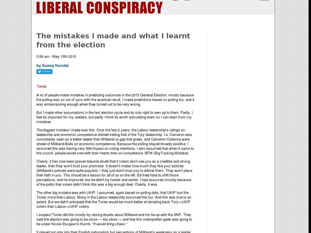 The mistakes I made and what I learnt from the election