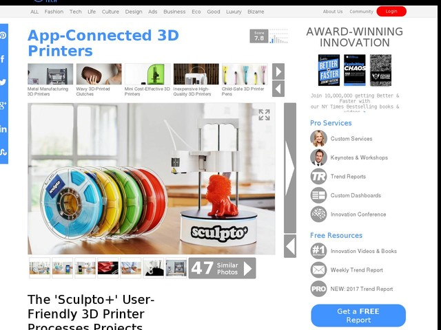 App-Connected 3D Printers - The 'Sculpto+' User-Friendly 3D Printer Processes Projects Silently (TrendHunter.com)