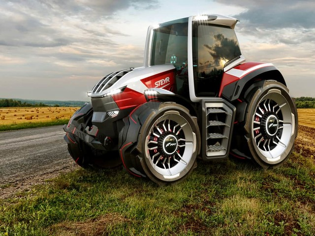 Steyr Konzept With Hybrid Powertrain & Drone Is A Tractor Of The Future