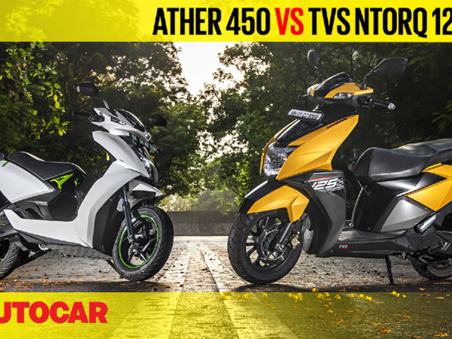 Review: TVS Ntorq 125 vs Ather 450 comparison video