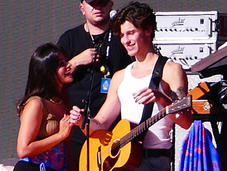Camila Cabello Sweetly Kisses BF Shawn Mendes During Concert Soundcheck — Photos