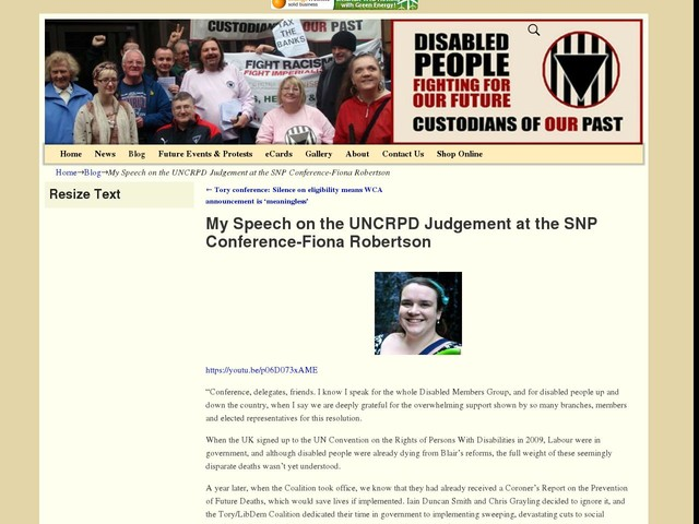 My Speech on the UNCRPD Judgement at the SNP Conference-Fiona Robertson
