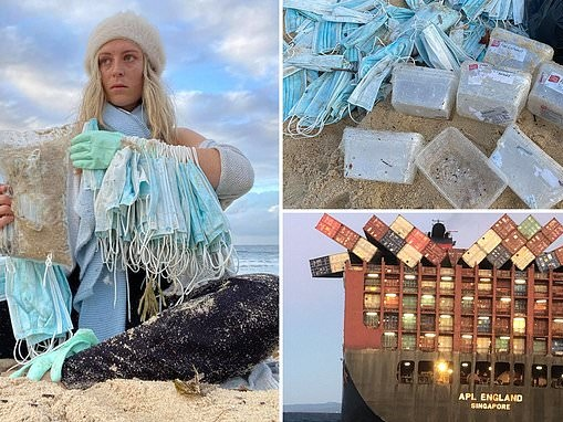 Sydney beaches could be closed as face masks wash ashore after APL England loses 40 ship containers