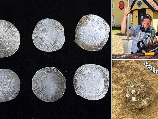 Metal detectorist unearths hoard of silver civil war era coins worth £100,000 in field outside pub