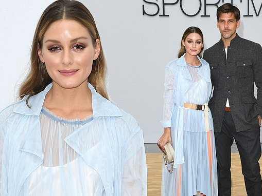 Olivia Palermo stuns in a pale blue ensemble as she joins her husband at the Sportmax show in Milan