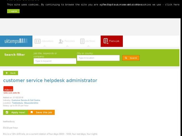 customer service helpdesk administrator