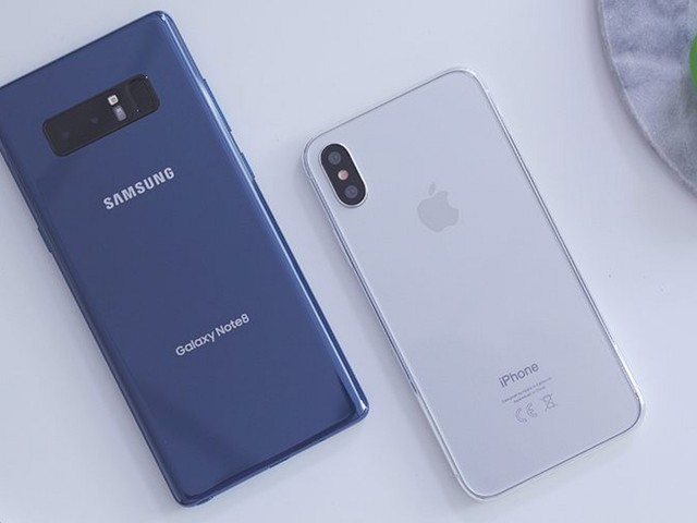 Samsung's Galaxy Note 8 Compared to iPhone 8 Dummy