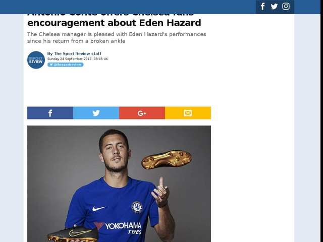 Antonio Conte offers Chelsea fans encouragement about Eden Hazard