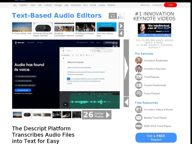 Text-Based Audio Editors - The Descript Platform Transcribes Audio Files into Text for Easy Editing (TrendHunter.com)