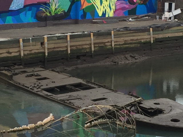 Workers cleaning out one of New York City's dirtiest canals have uncovered historic relics covered in toxic gunk