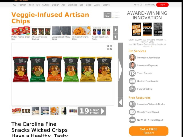 Veggie-Infused Artisan Chips - The Carolina Fine Snacks Wicked Crisps Have a Healthy, Tasty Profile (TrendHunter.com)