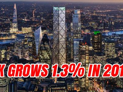 UK Grows 1.3% in 2018