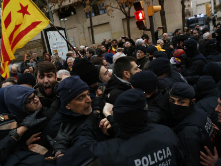 Scuffles break out as art is removed from Catalan museum