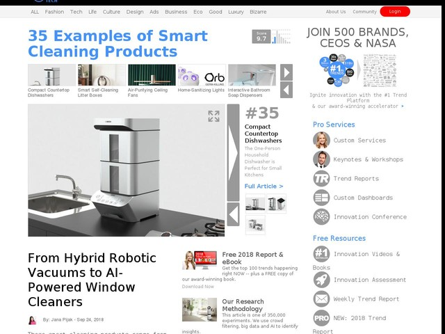 35 Examples of Smart Cleaning Products - From Hybrid Robotic Vacuums to AI-Powered Window Cleaners (TrendHunter.com)