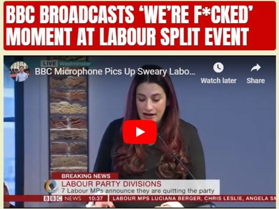 BBC Broadcasts 'We're F*cked' Moment at Labour Split Event