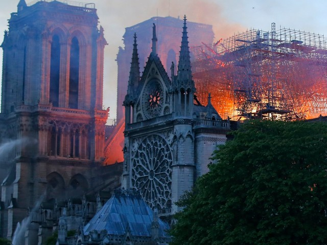 Heartbreaking photos show the 800-year-old Notre-Dame Cathedral in Paris burning to the ground