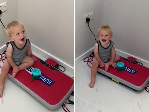 Adorable toddler giggles at his VERY shaky voice