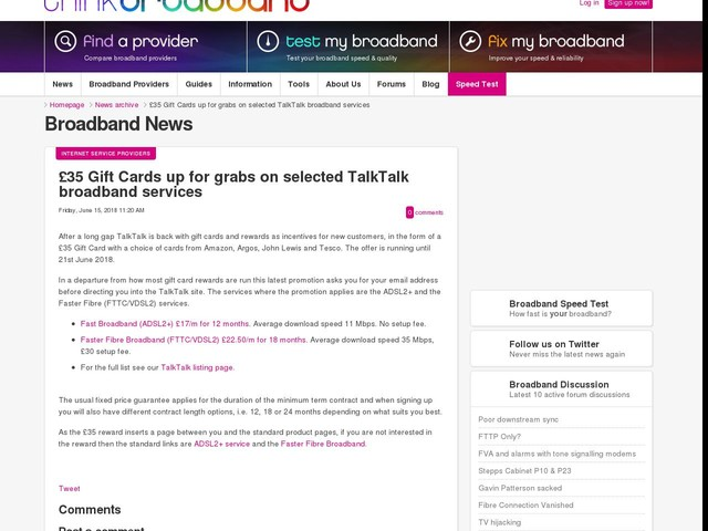 £35 Gift Cards up for grabs on selected TalkTalk broadband services
