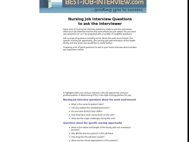 Apr 27 Nursing Job Interview Questions To Ask The Interviewer