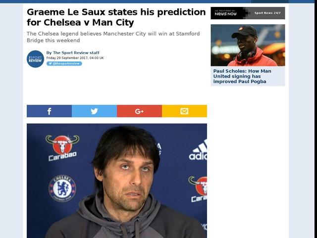 Graeme Le Saux states his prediction for Chelsea v Man City