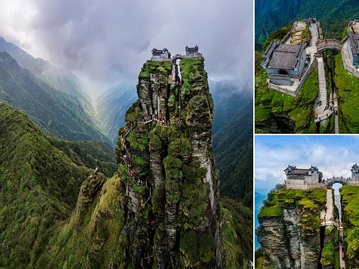 The incredible twin temples perched atop a breathtaking rocky spire on China's Mount Fanjing