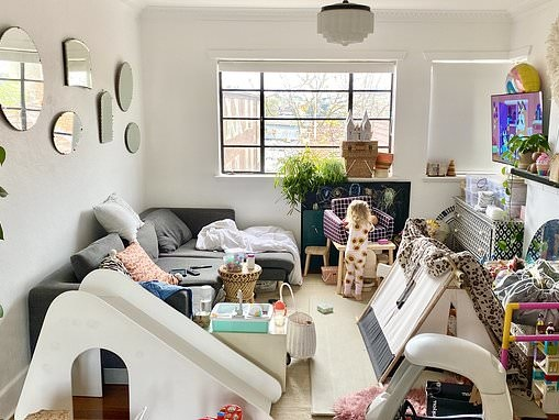 Mum's chaotic living room perfectly captures the reality of apartment life in lockdown