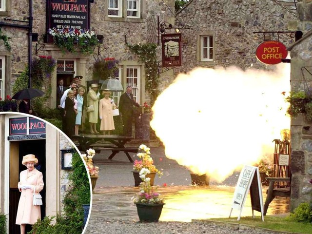 The Queen once visited the Emmerdale set and 'was cool as a cucumber' as part of the village blew up yards from her feet, soap star reveals