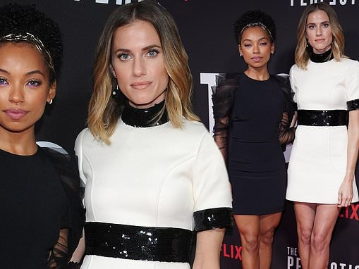 Allison Williams and Logan Browning pose in contrasting mini dresses at screening of The Perfection