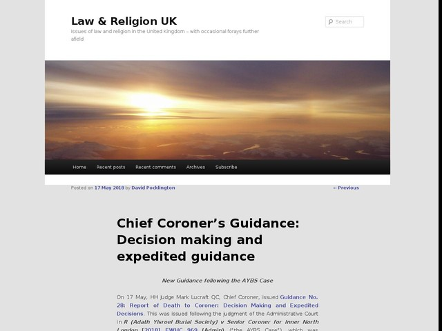 Chief Coroner's Guidance: Decision making and expedited guidance