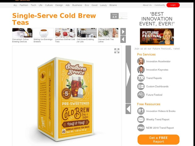 Single-Serve Cold Brew Teas - Harris Tea Co. Now Offers Pre-Sweetened Cold-Brewed Tea Bags (TrendHunter.com)