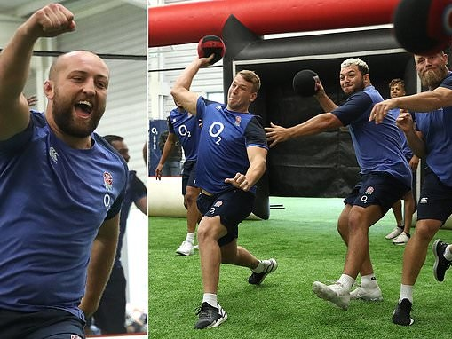 England's stars enjoy a game of dodgeball at World Cup training camp