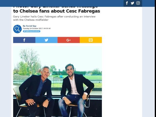 Photo: Gary Lineker sends message to Chelsea fans about Cesc Fabregas