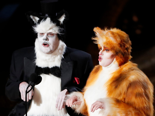 James Corden and Rebel Wilson mock box office bomb Cats as they present Oscars in costume
