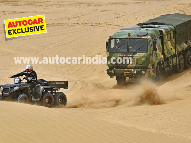 Dune-bashing in Jaisalmer with two 6x6s