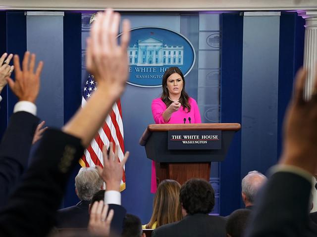 Sarah Sanders Explaining Donald Trump's False Tax Claims Is Peak White House Absurdity