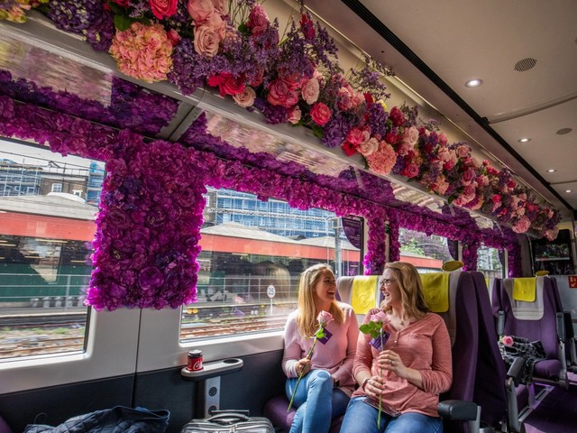 Heathrow Express recreates Chelsea Flower Show in a train carriage with over 3,000 plants