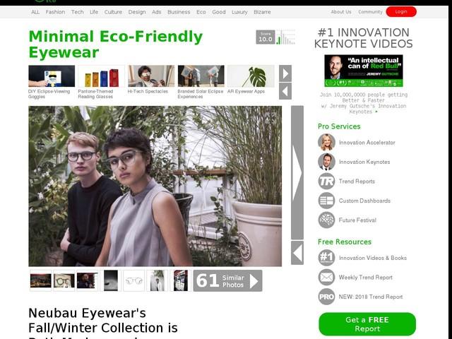 Minimal Eco-Friendly Eyewear - Neubau Eyewear's Fall/Winter Collection is Both Modern and Timeless (TrendHunter.com)