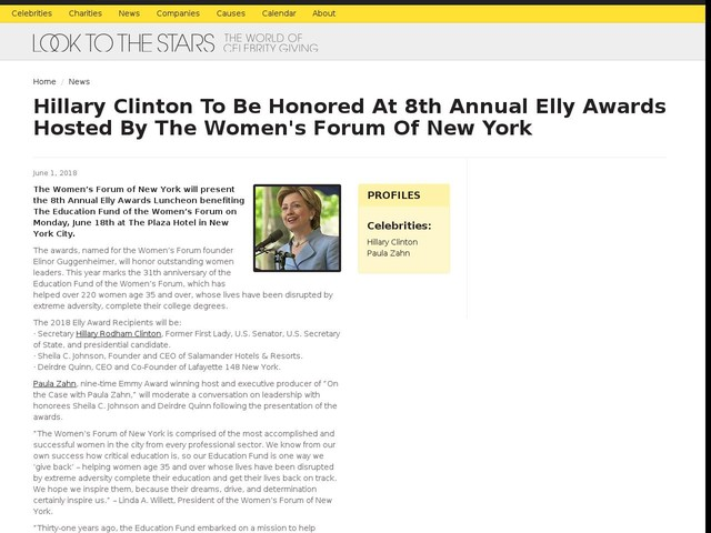 Hillary Clinton To Be Honored At 8th Annual Elly Awards Hosted By The Women's Forum Of New York