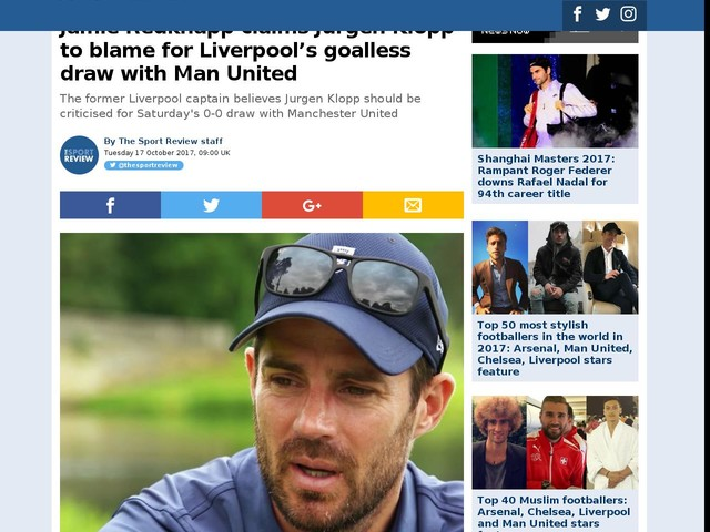 Jamie Redknapp claims Jurgen Klopp to blame for Liverpool's goalless draw with Man United