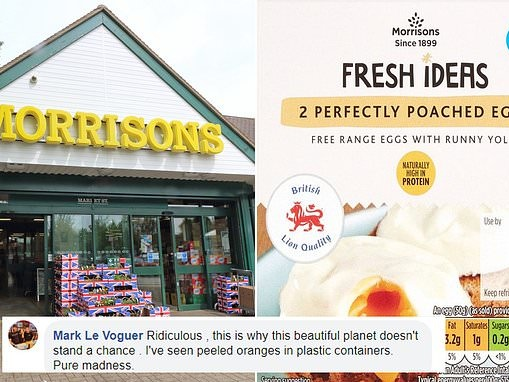 Shoppers slam Morrison's for selling 'perfectly' poached eggs wrapped in PLASTIC