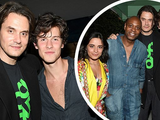 Shawn Mendes and Camila Cabello cozy up to John Mayer and Dave Chappelle