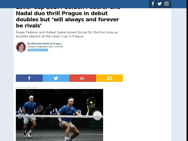 Laver Cup 2017: Golden Federer and Nadal duo thrill Prague in debut doubles but 'will always and forever be rivals'
