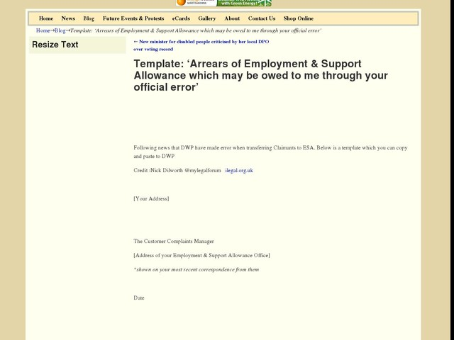 Template: 'Arrears of Employment & Support Allowance which may be owed to me through your official error'